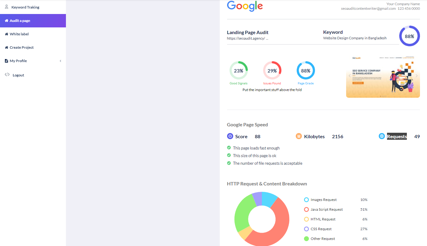 SEO Audit Software Interface